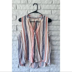 Alya Striped Tank with Buttons